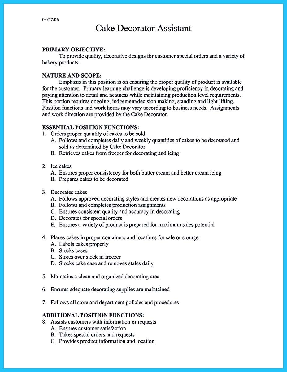 Cool Flawless Cake Decorator Resume To Guide You To Your Best Job Check More At Http Snefci Org Fla Resume Examples Job Cover Letter Cover Letter For Resume
