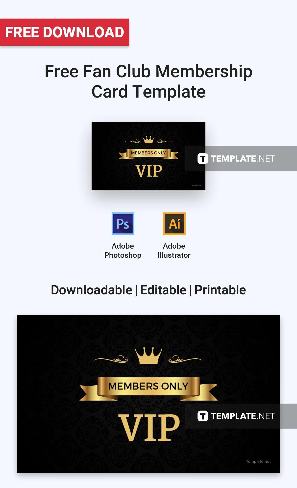 Free Fan Club Membership Card Template Membership Card Free Business Card Templates Card Templates