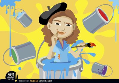 Painter woman inside a paint bucket, she holds the brush with inspiration face and has other pouring paint buckets staining all around. Nice vector for promoting art events or classes. Commons 3.0. Attribution License.