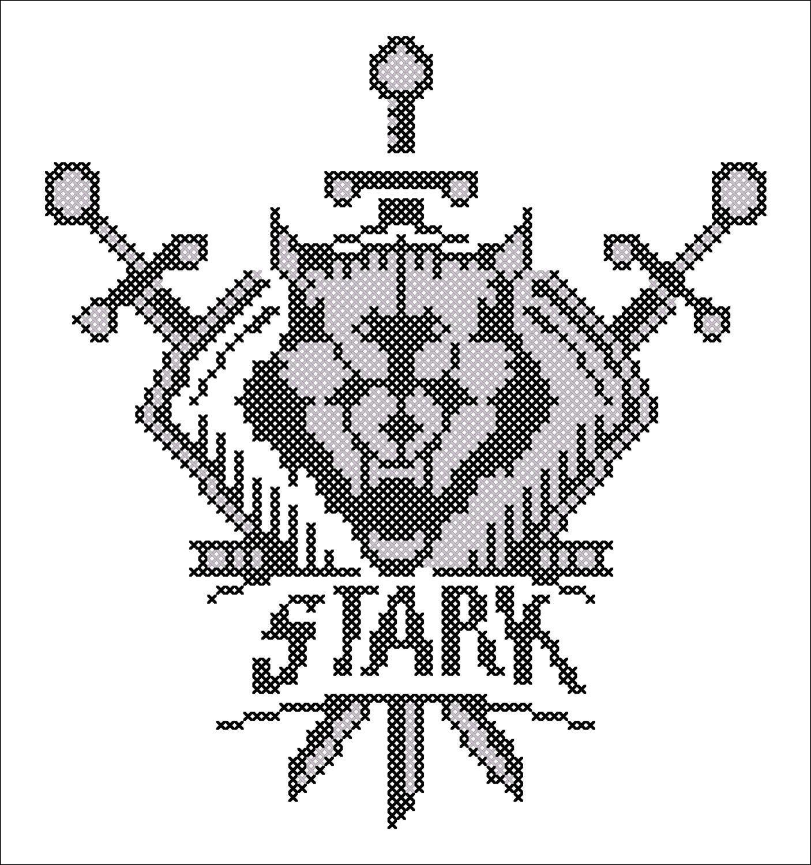 BOGO FREE! Cross stitch -Game of the Thrones - Shield Stark Symbol ...