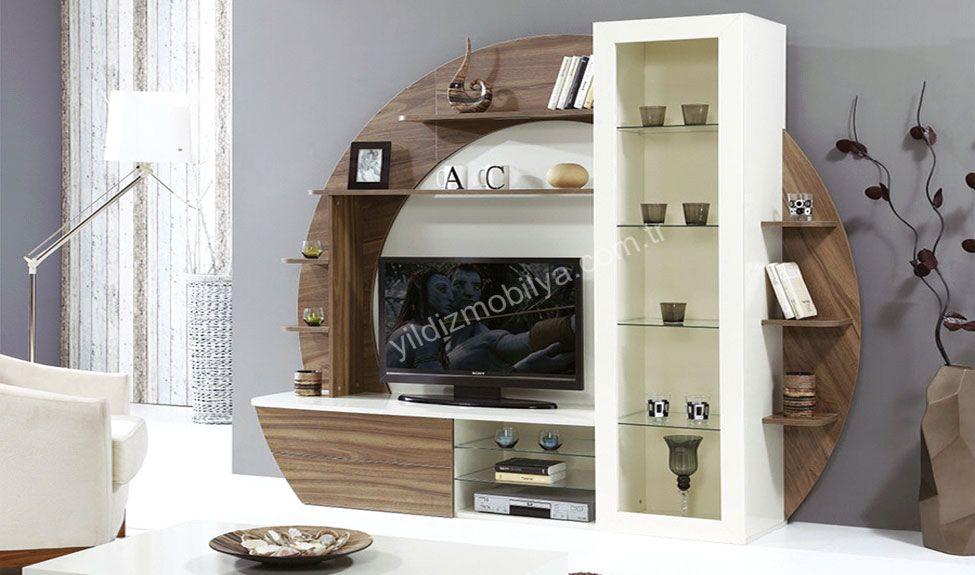 ikon tv unitesi venezia cevizi ve inci beyaz renklerinde uretilmektedir oval tasarimiyla farkli ve sira wall tv unit design tv room design modern tv wall units