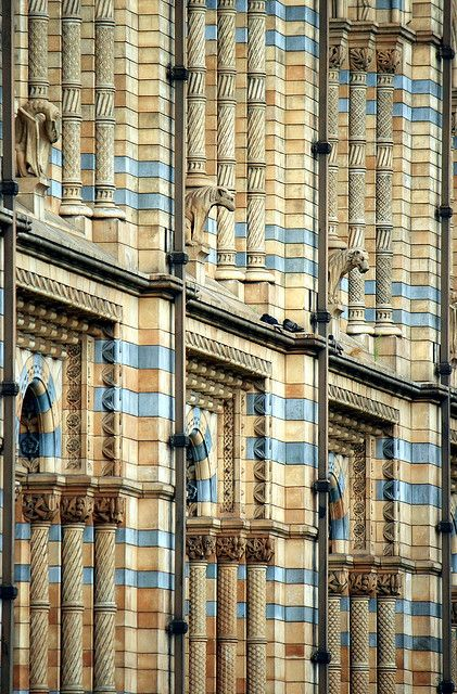 Exterior facade, Natural History Museum, London ~ architect Alfred Waterhouse.