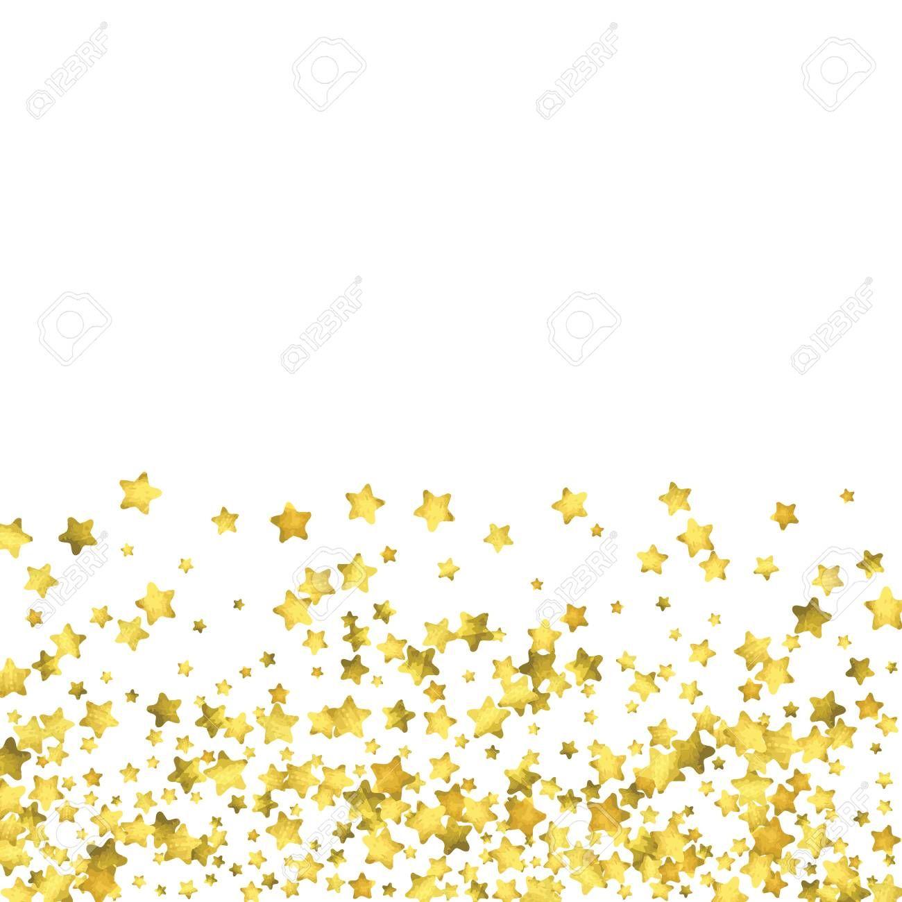 Star Confetti Gold Random Confetti Background Bright Design Template Vector White And Yellow Confetti Background Bright Designs Wedding Invitation Templates