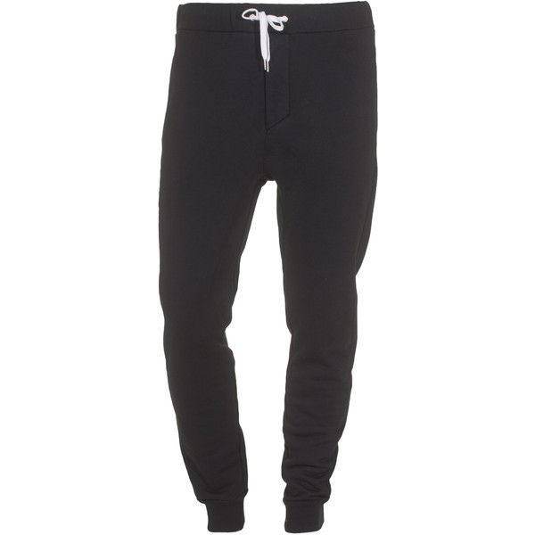 ACNE Fred Black Cotton blend sweat pants ($99) ❤ liked on Polyvore featuring men's fashion, men's clothing, men's activewear, men's activewear pants and pants