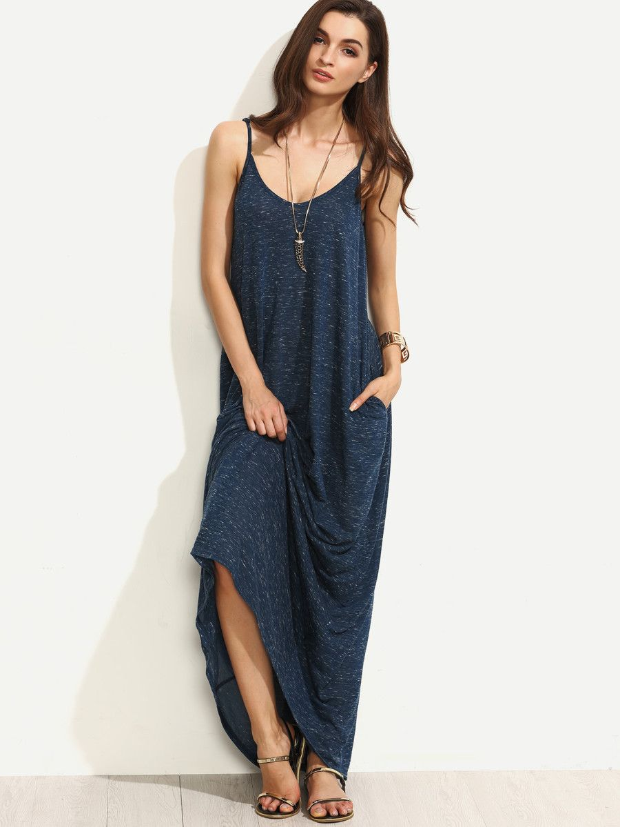 61bea2a8ba Heather Navy Full Length Swing Dress -SheIn(Sheinside) | FaDes My ...