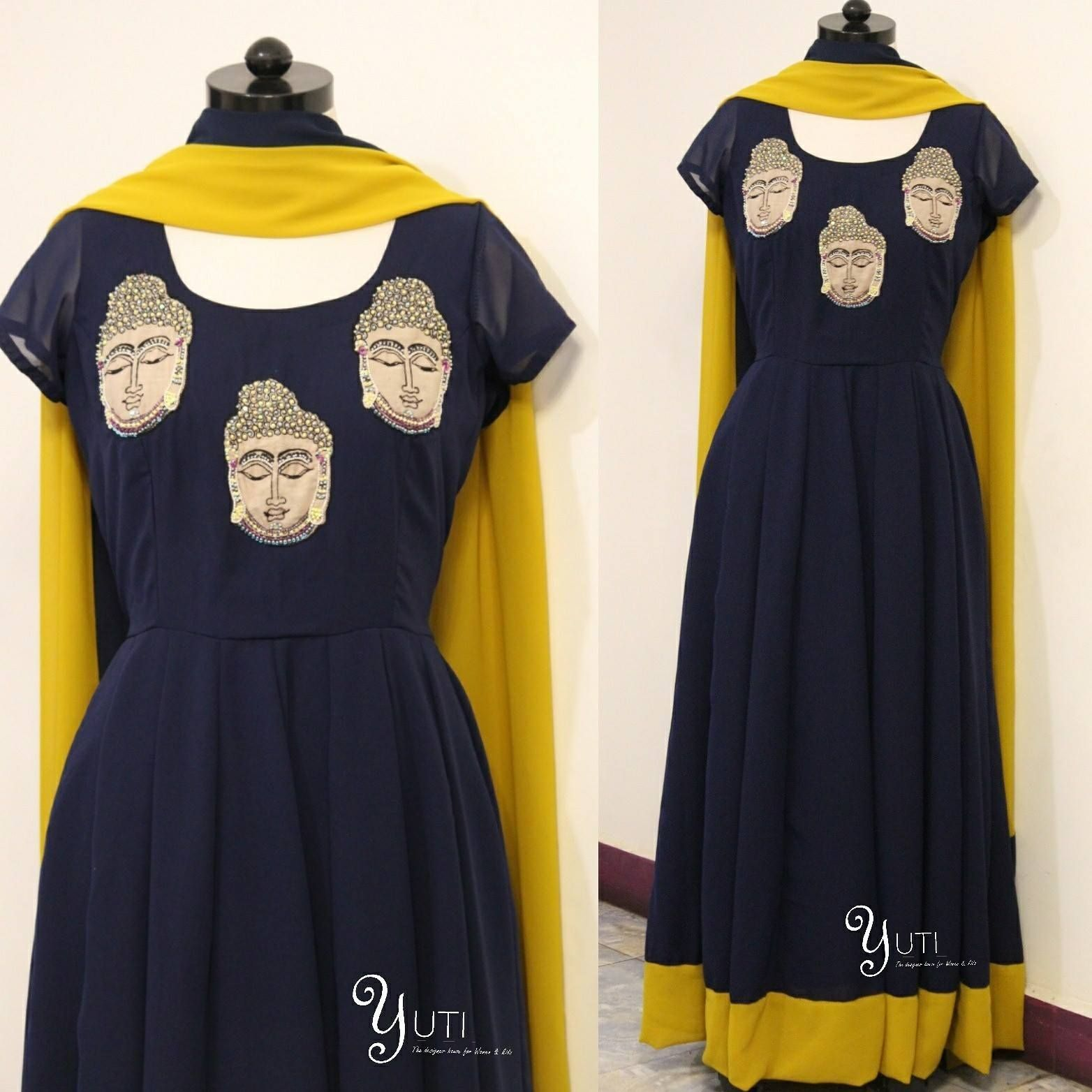 YUTI very own statement cow anarkali now with a buddha face customized for a peace lover!