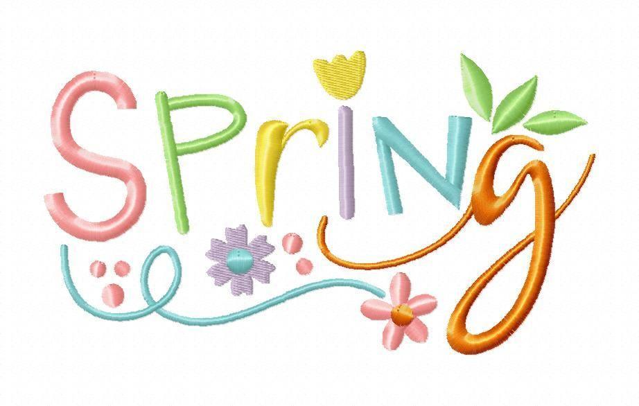 Spring Word Art Free 4x4 5x7 Machine Embroidery Design Breezy
