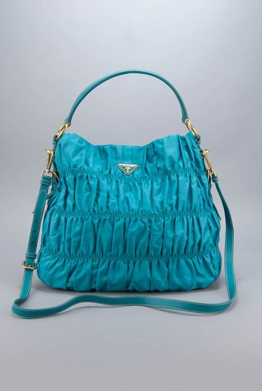 e41301385da7 shopRDR.com - 100% Authentic Guaranteed - Prada Tessuto Gaufre Ruched Nylon  Hobo Bag