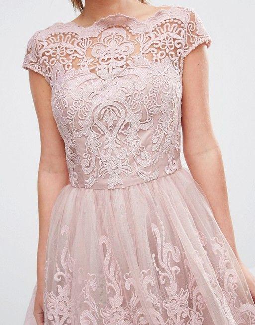 d9b18213b2 Chi Chi London Premium Lace Midi Prom Dress with Bardot Neck ...