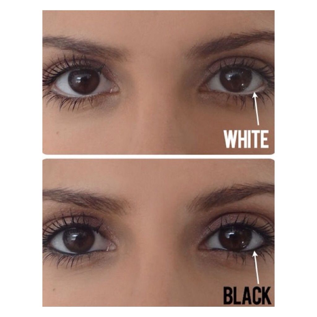 The Difference Of White Or Black Eyeliner On Your Water Line White Eyeliner Makes Your Eyes Look Bigger And Black E White Eyeliner Makeup Tips Beauty Secrets