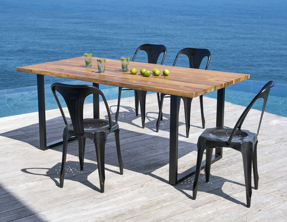 Black Metal And Solid Acacia 6 8 Seater Garden Table L190 Table