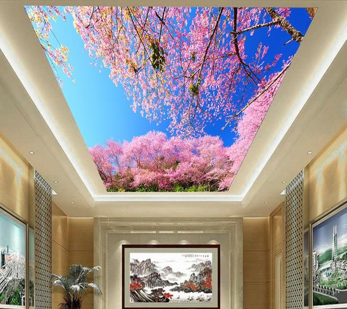 3d wallpaper mural sky clouds leaves blossoms tree scenery for Cloud wallpaper mural