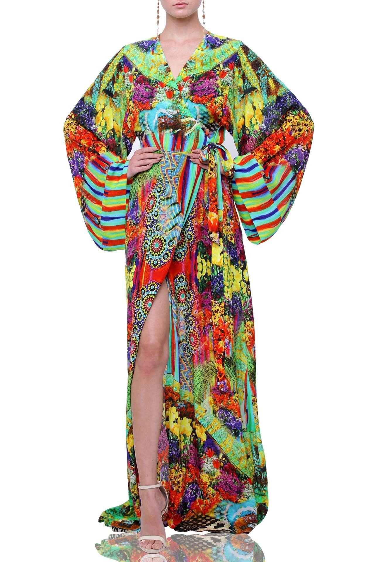 a5cd455e631 Floral Print Lounge Wear Kimono Wrap Dress in 2019