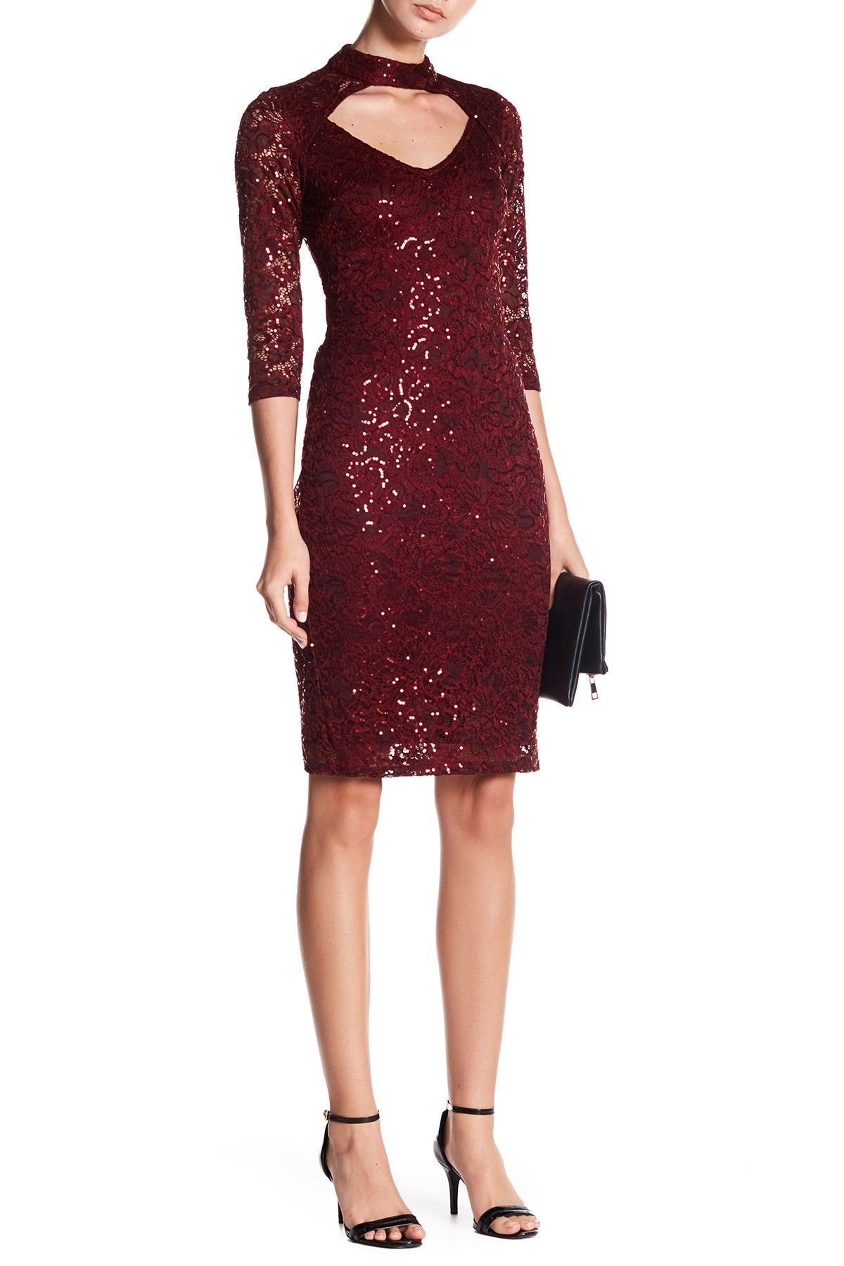 Marina length sleeve lace sequin dress products