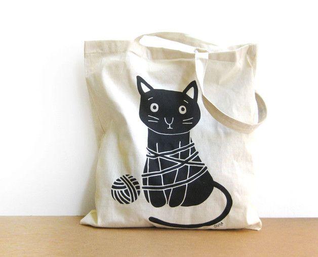 270d482dd Bolsas de lona - Bolsa de tela con dibujo de Gato serigrafiado - hecho a  mano por olula en DaWanda