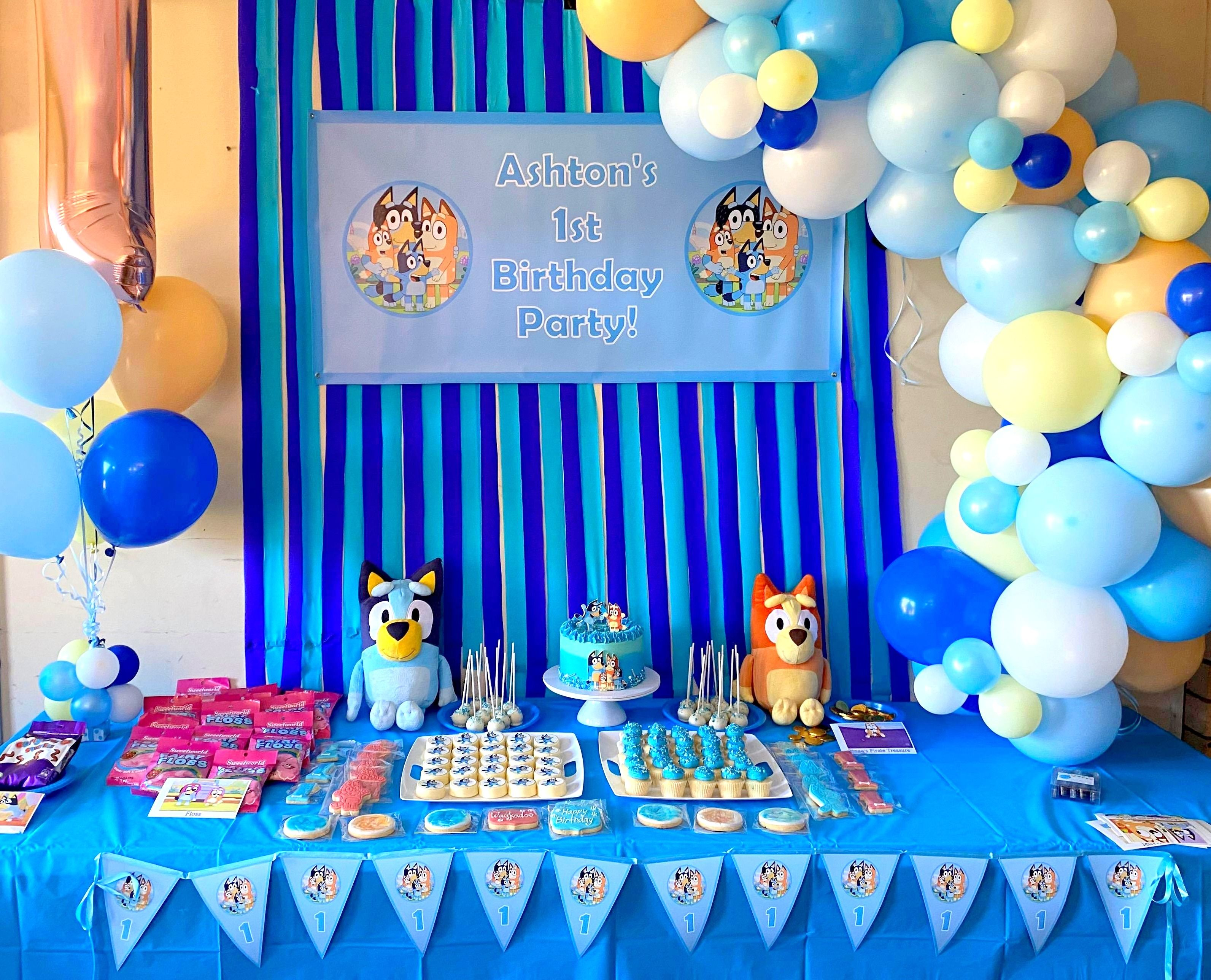 ANY NAME PERSONALISED DOG 2nd BIRTHDAY BANNER PARTY BUNTING BLUE