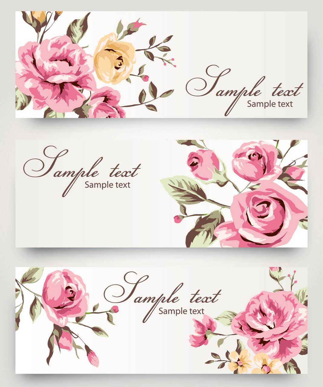 banner 12 flower rose hand painted vector free vector banner label vector pinterest. Black Bedroom Furniture Sets. Home Design Ideas