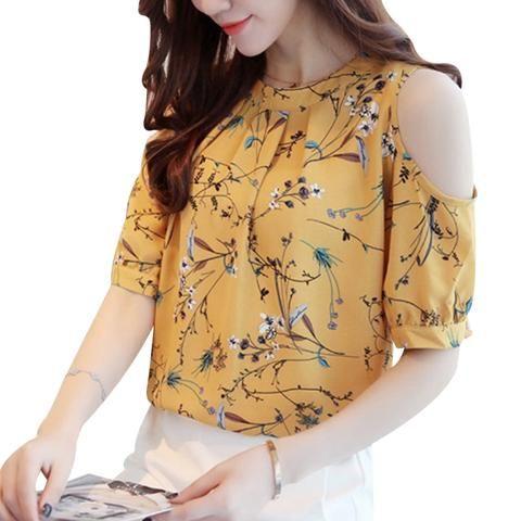 cca32c81592 Plus Size Summer Cold Shoulder Chiffon Floral Printed Blouse Shirt Women  Tops Elegant Ladies Korea Blouses