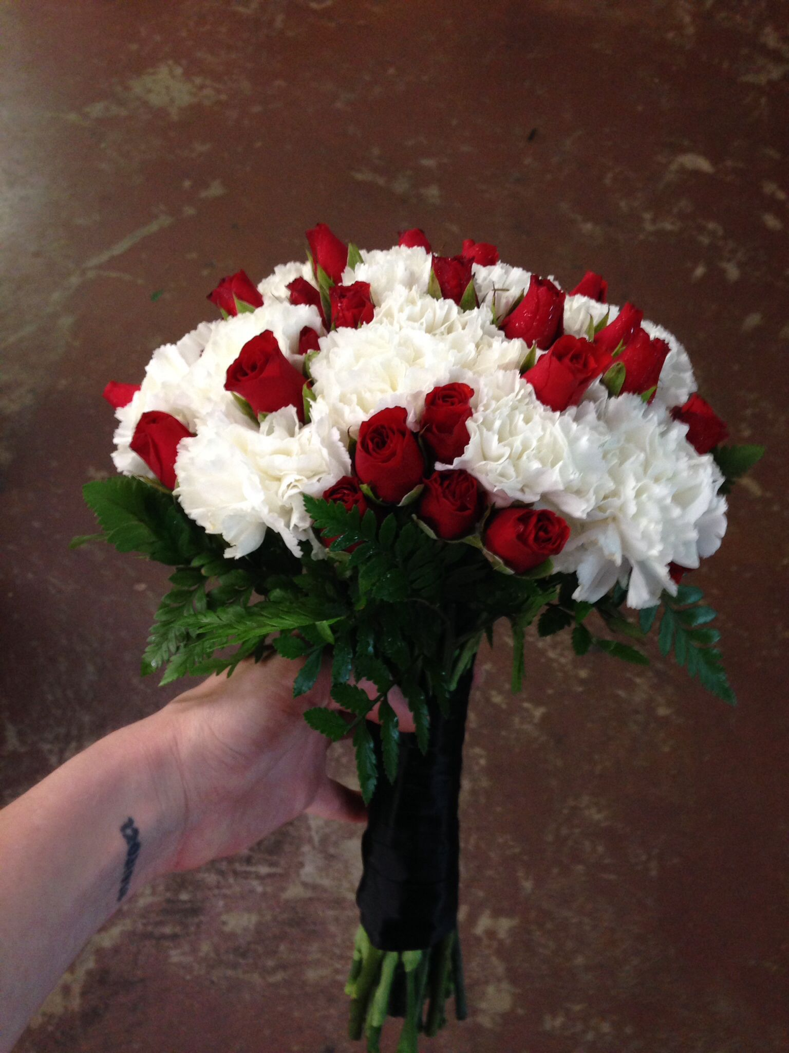 Bridal Bouquet Red White And Black Carnations And Spray Roses