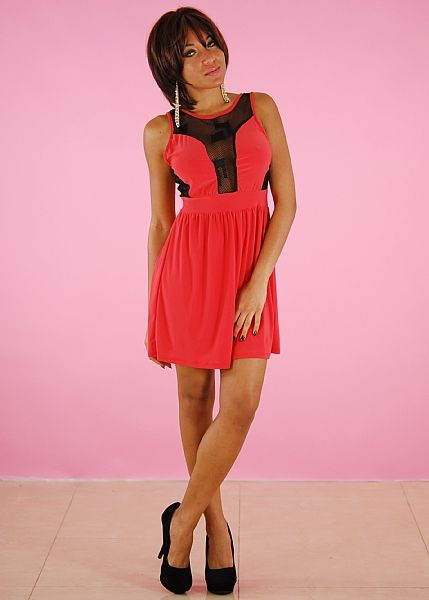 A-Line Dress. Flirty A-line dress in a stretch fabric. Mesh inset along the front and low V-Back. Solid waistline. Made from 94% Polyester, 6% Spandex. Length from underarm down is 25.5 (measured from a size Small). Accessories Sold separate. Price: $19.99
