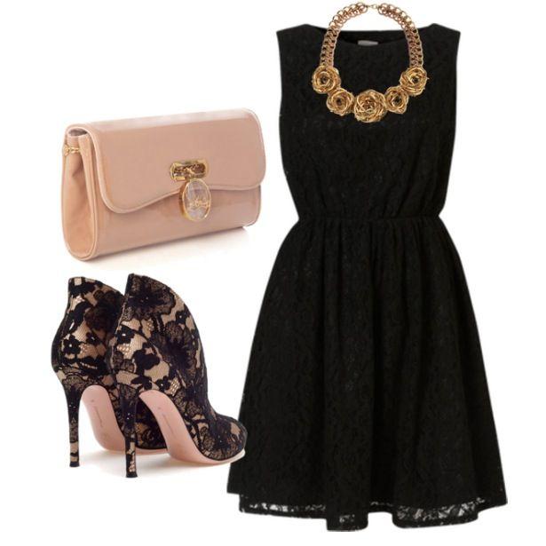 Accesorios para un vestido negro corto de encaje