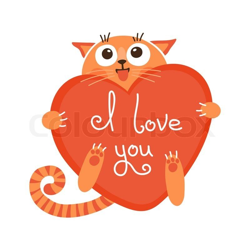 Stock vector of 'Cute cartoon ginger cat with heart and declaration of love. Vector illustration.'