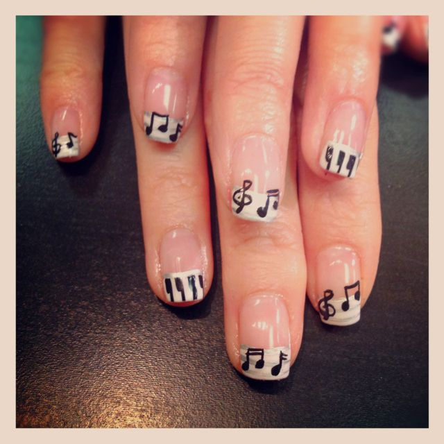 Piano and music note nail art from Naileddaily.blogspot ...
