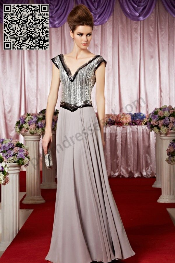 Gray V-neck A-Line Backless Sequins Evening Gown SO288