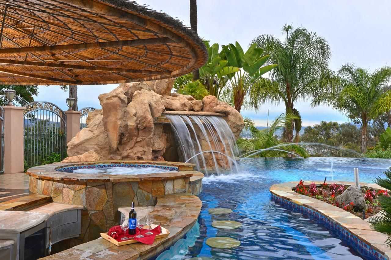 Tour a deluxe resort style pool in la mesa calif for Outdoor garden pool