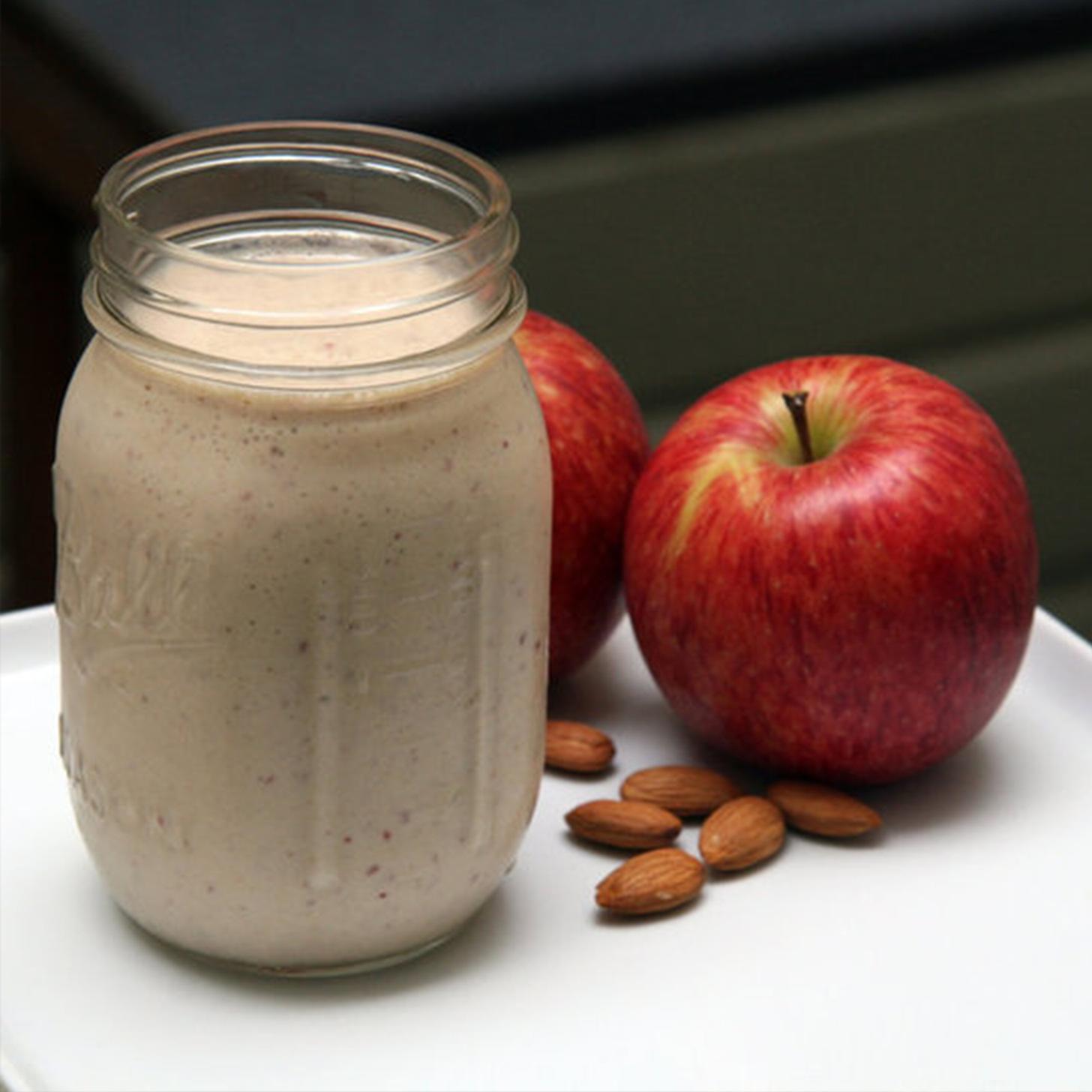 The Metabolism-Boosting Smoothie from celebrity trainer, Harley Pasternak. It has almonds, banana, apple, cinnamon, milk and yogurt.