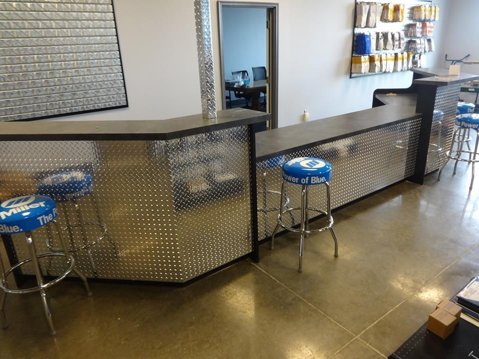 Hand Made Industrial Reception Desk Or Sales Counter By Chad 39 S Reception Desk Industrial Reception Desk Industrial Reception