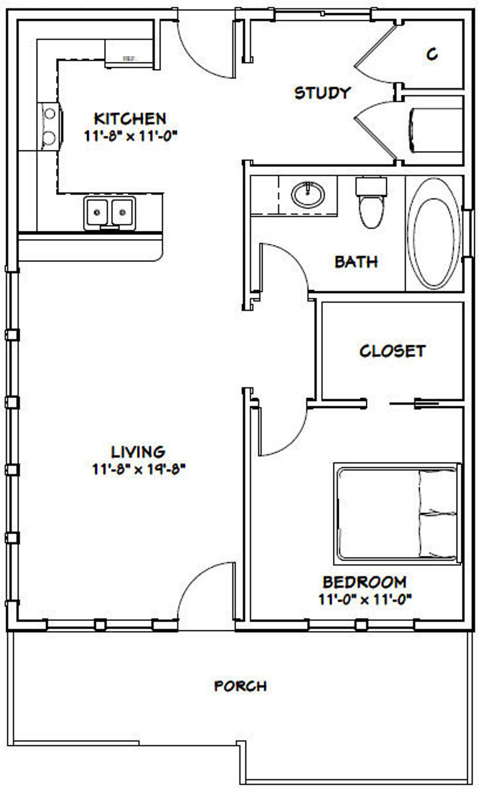24x32 House 1 Bedroom 1 Bath 768 Sq Ft Pdf Floor Plan Instant Download Model 1 In 2021 1 Bedroom House Plans Small House Floor Plans Tiny House Floor Plans