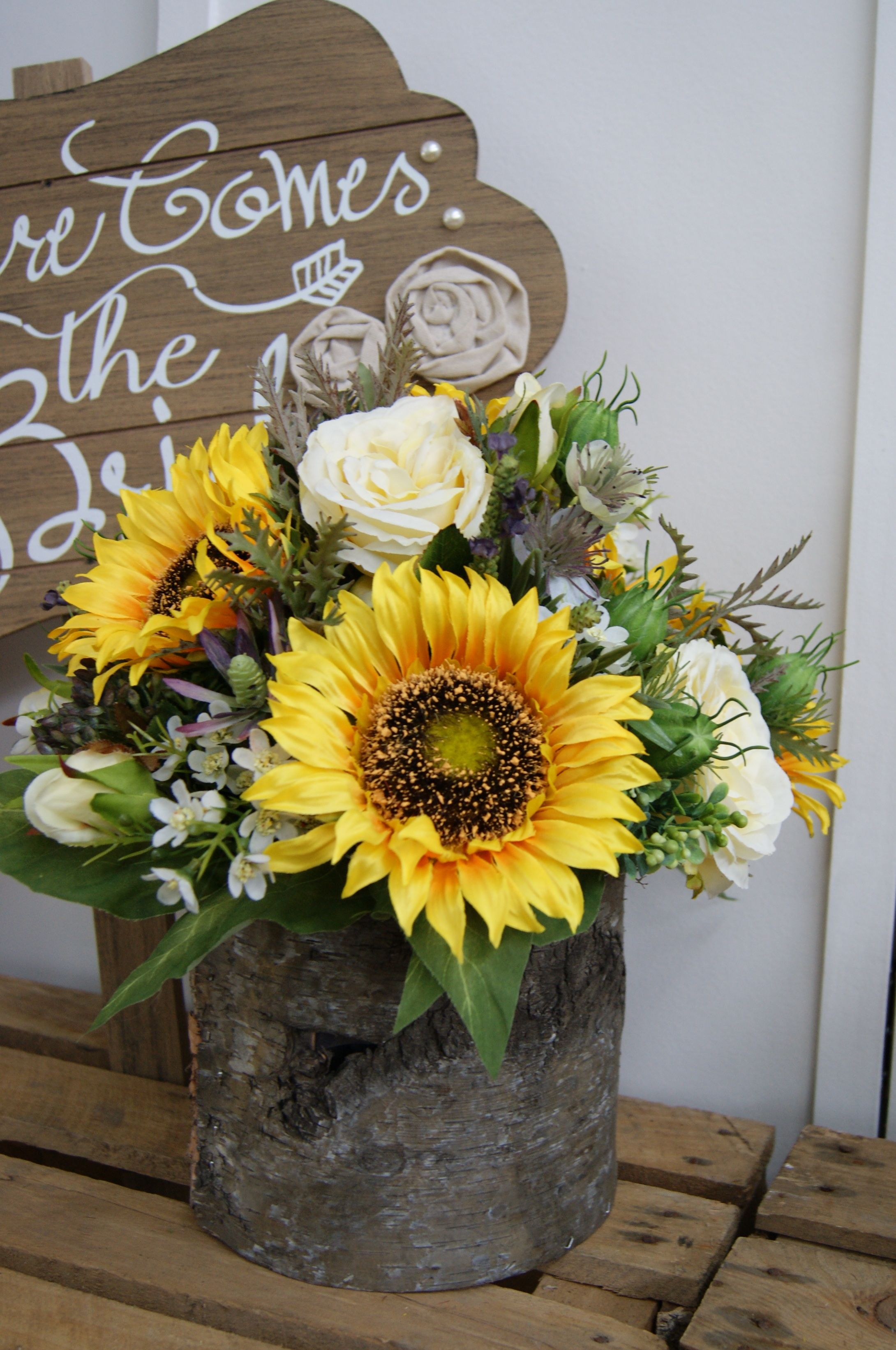 Sunflower Table Centre Arrangement In A Rustic Bark Planter For A