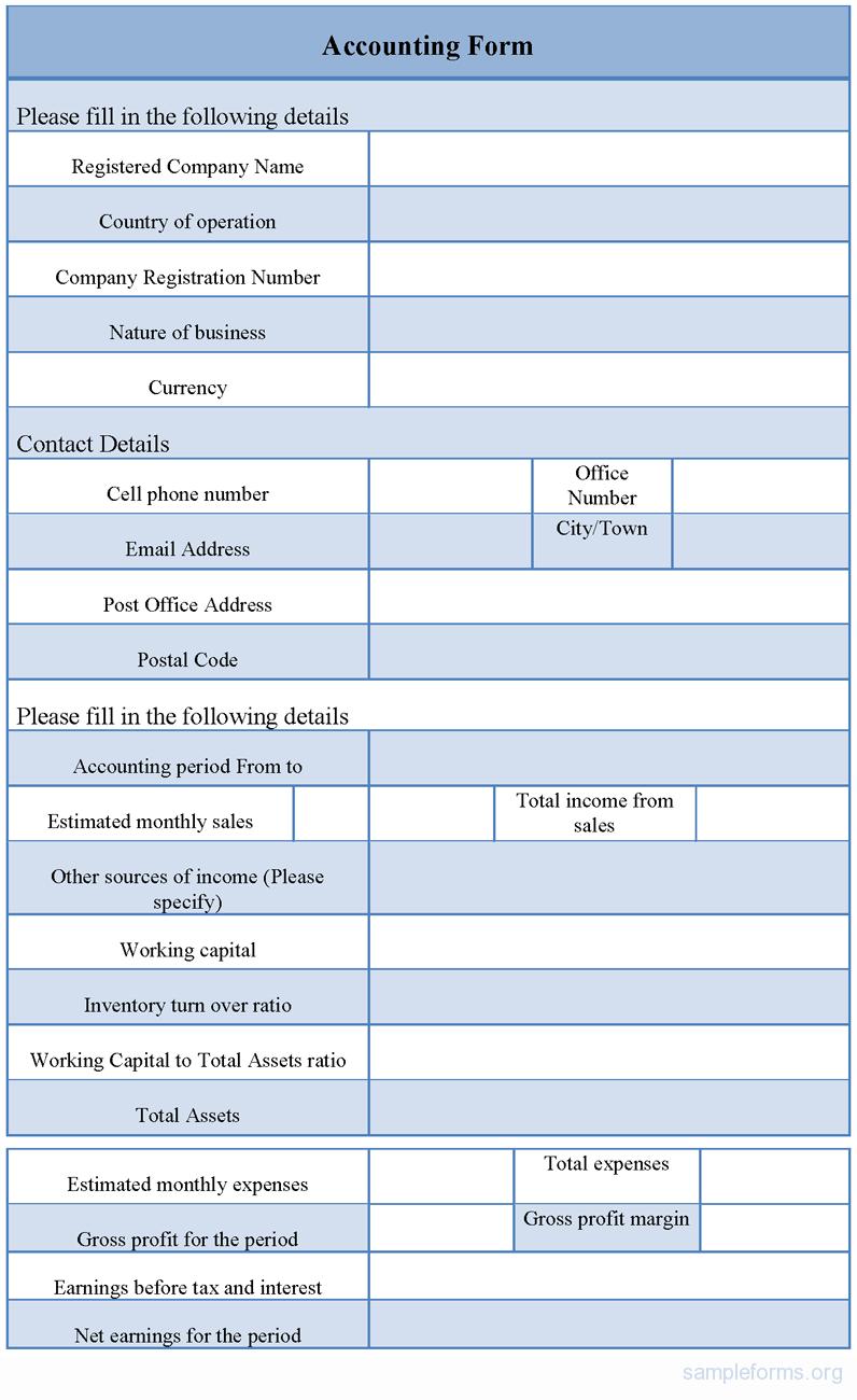 Sample Accounting Form Sample Accounting Form  Accounting