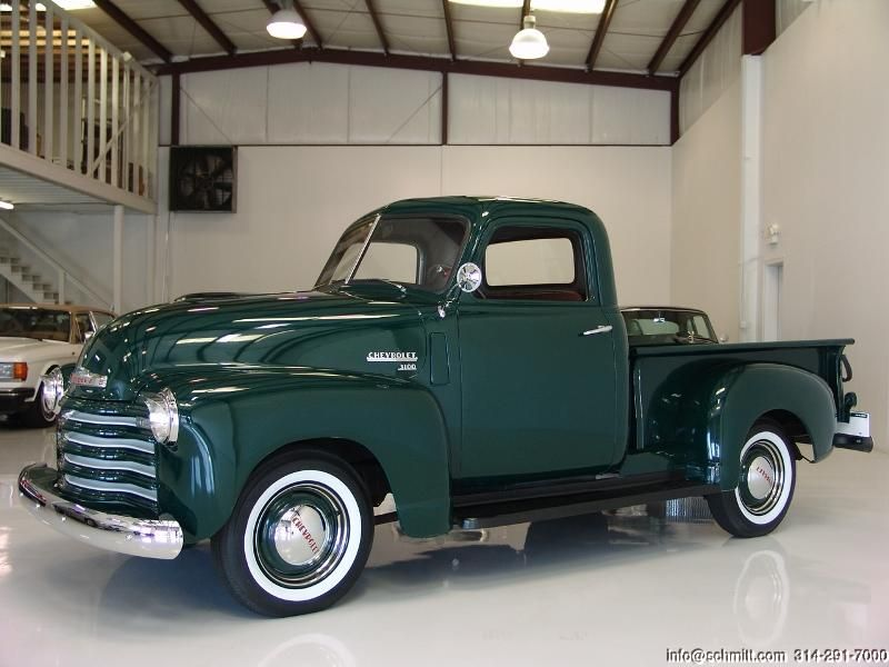 1950 Chevy Sharp Looking Dark Green Chevrolet Pick Up Truck With White Wall Tires Classic Cars Trucks Chevy Chevy Trucks