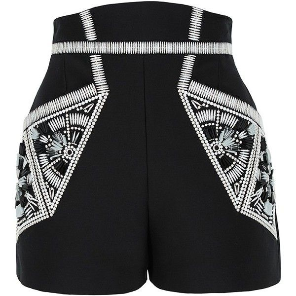 sass & bide Ocean of Life Embellished Tailored Shorts (485 AUD) ❤ liked on Polyvore featuring shorts, bottoms, pants, high-waisted shorts, high-rise shorts, embellished shorts, high rise shorts and tailored shorts