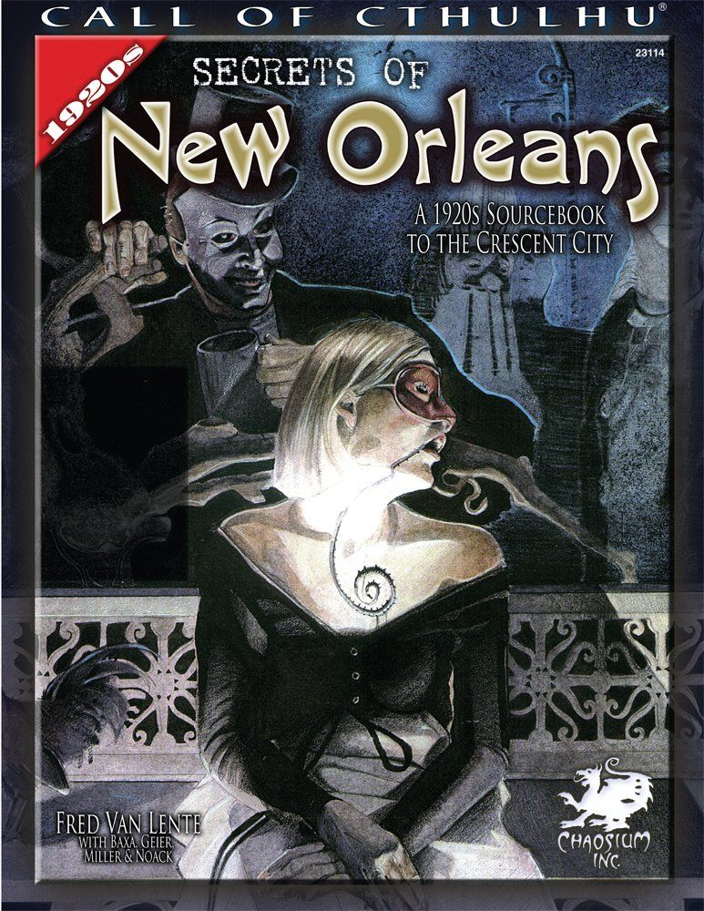 Secrets of New Orleans: A 1920s Sourcebook to the Crescent City (Call of Cthulhu roleplaying) by Fred Van Lente, Janice Sellers, Scott Baxa and Earl Geier (Sep 21, 2009) | Book cover and interior art for Call of Cthulhu Roleplaying Game - CoC, Basic Role-Playing System, BRP, The Card Game,Living Card Game, Miskatonic, H. P. Lovecraft, fantasy, horror, RPG, Chaosium Inc. | Create your own roleplaying game books w/ RPG Bard: www.rpgbard.com | Not Trusty Sword art: click artwork for source