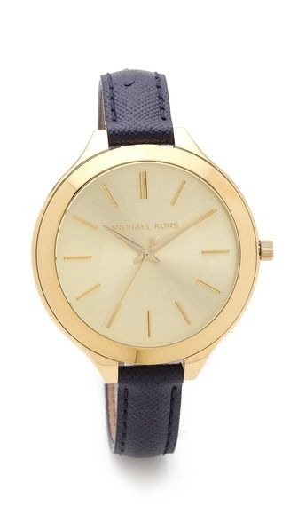 d9fe90e0e13a Michael Kors Leather Slim Runway Watch -someone please  birthday is 2  months away.
