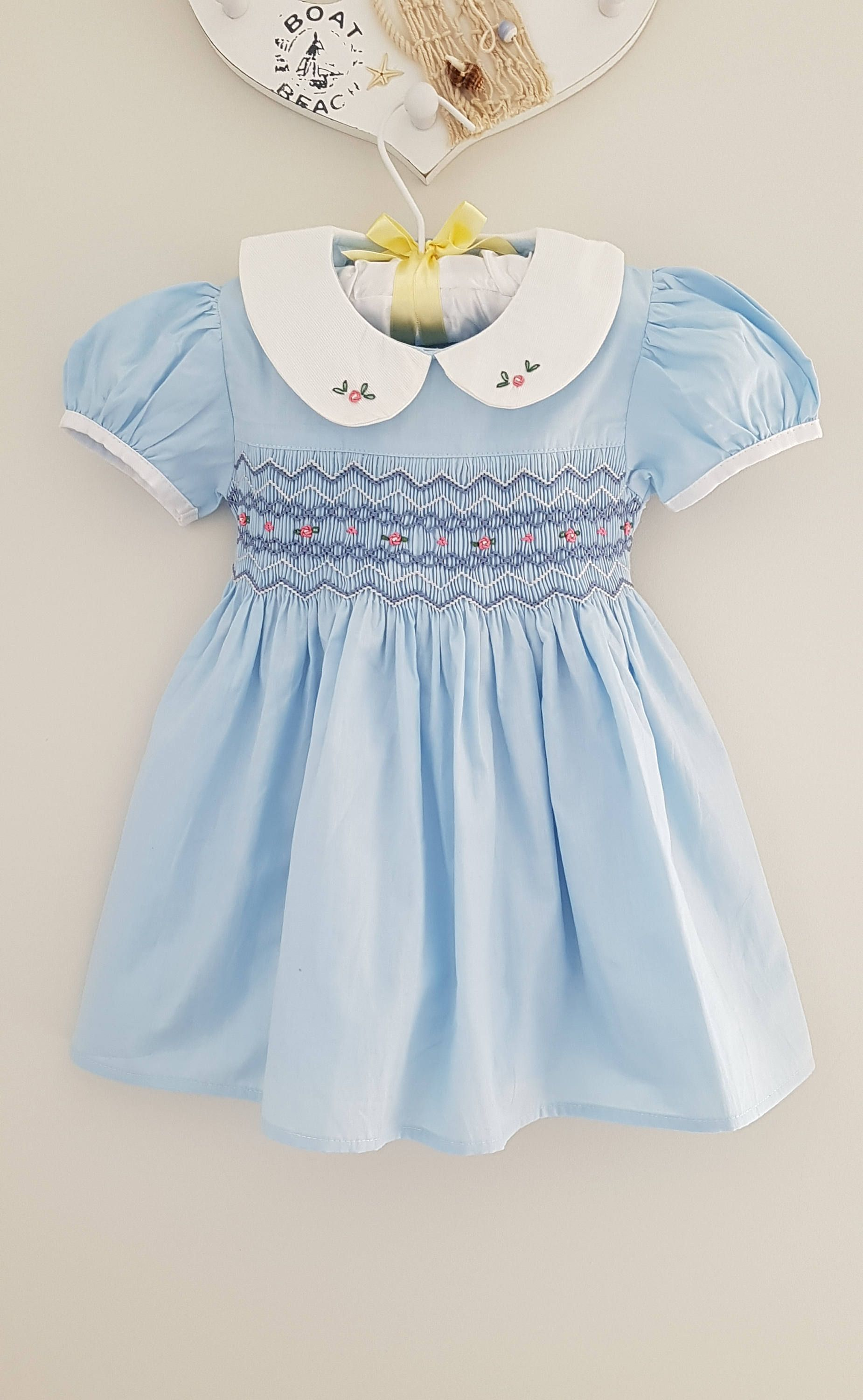 89ecf3fc0a28 Beautiful light blue hand smocked and embroidered baby dress - size ...