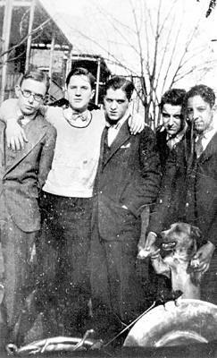 The Austin High Gang, Chicago, 1923. L to R: Frank Teschemacher, Jimmy McPartland, Dick McPartland, Bud Freeman, and Arny Freeman
