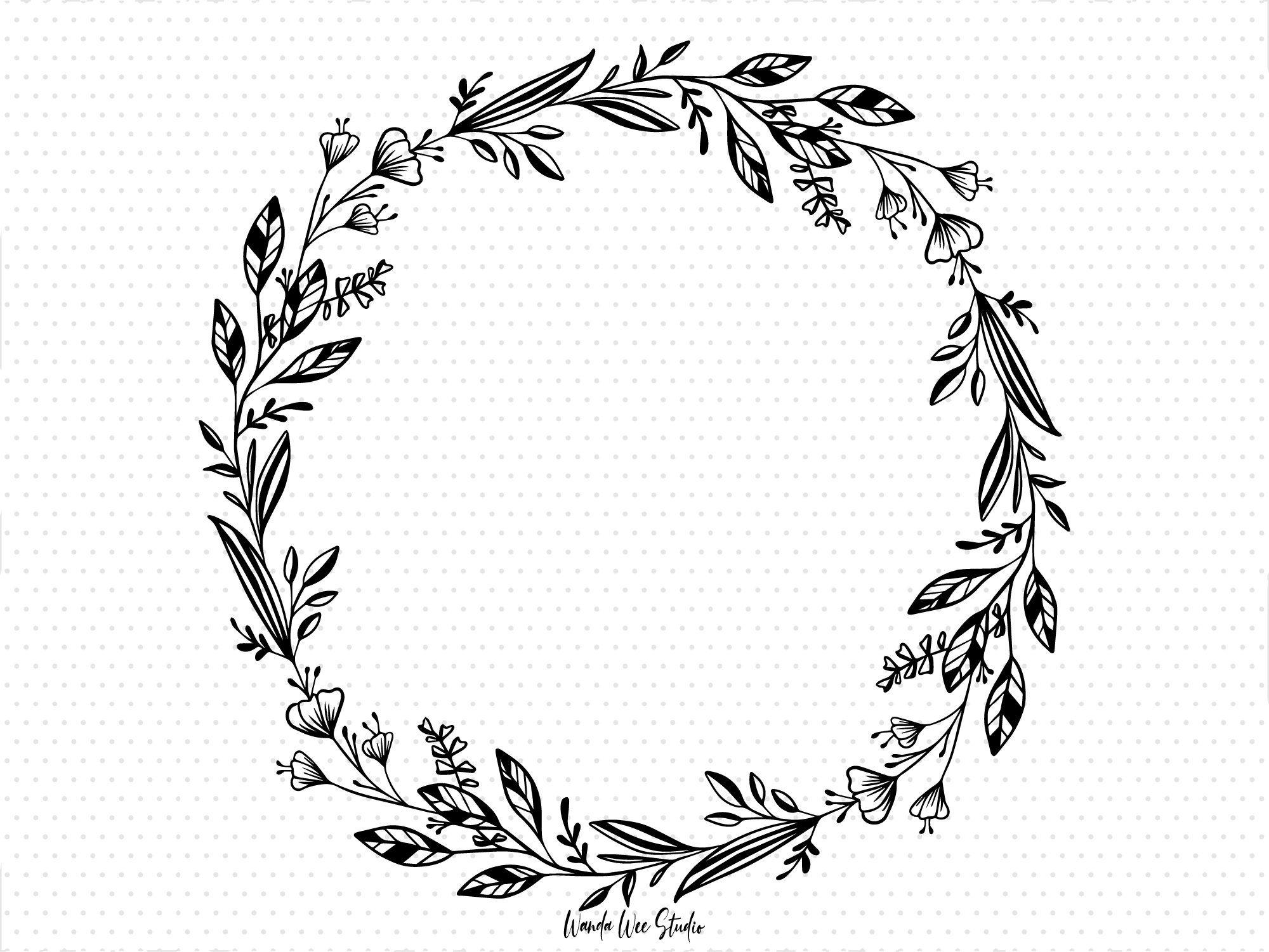 Hand Drawn Tropical Laurel Wreath Clipart Pencil Drawing Etsy Floral Wreath Drawing Wreath Drawing Tropical Floral Wreath