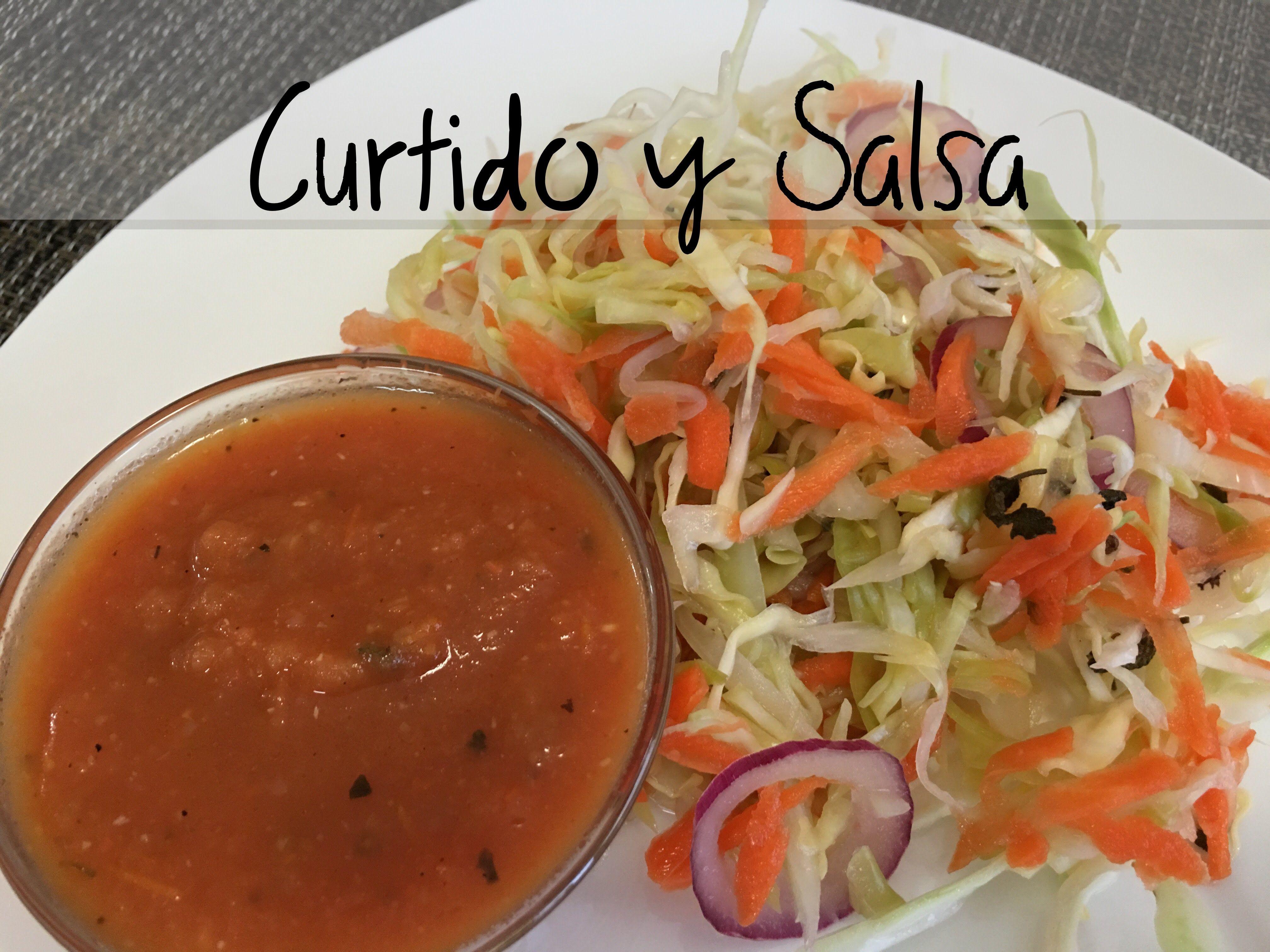 curtido para pupusas y salsa de tomate comidafood