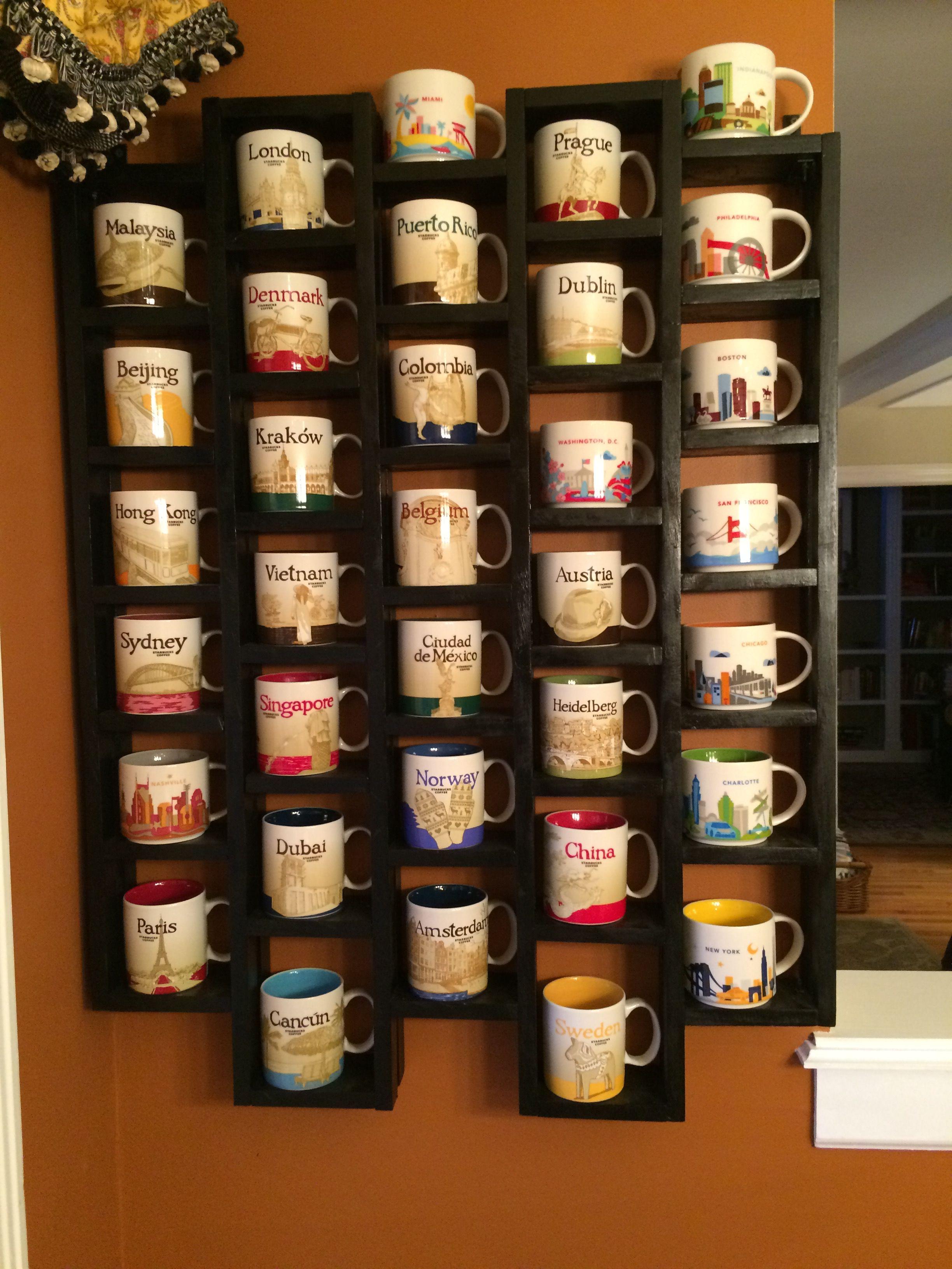 My Starbuck S Mug Shelf Starbucks Mugs Mug Display Coffee Mug Display