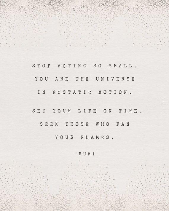 Rumi quote poster, you are the universe, inspirati