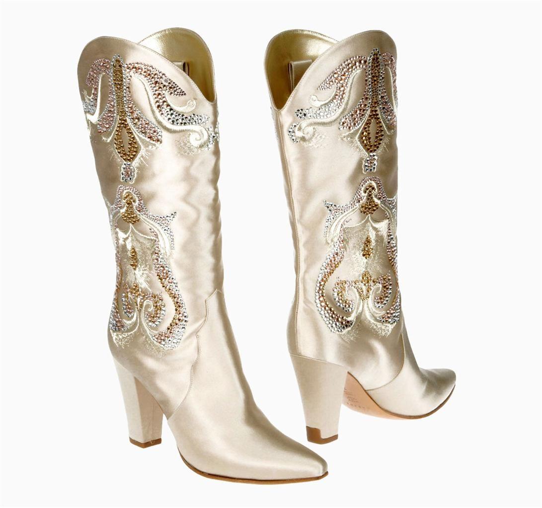 New rare casadei wedding satin crystals cowboy western boots 38 ...