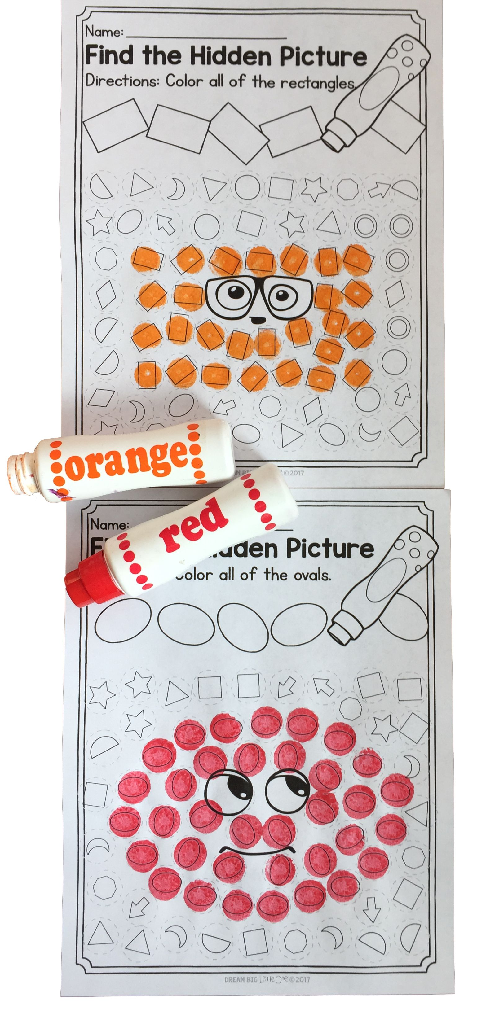 2d Shapes Worksheets Using Dot Markers For Prek And