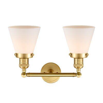Photo of Breakwater Bay Gehring Fixture 2-Light Dimmable Vanity Light Finish: Satin Gold, Shade Color: Matte White Cased, Bulb Type: 3.5 Watt Vintage LED Bulb