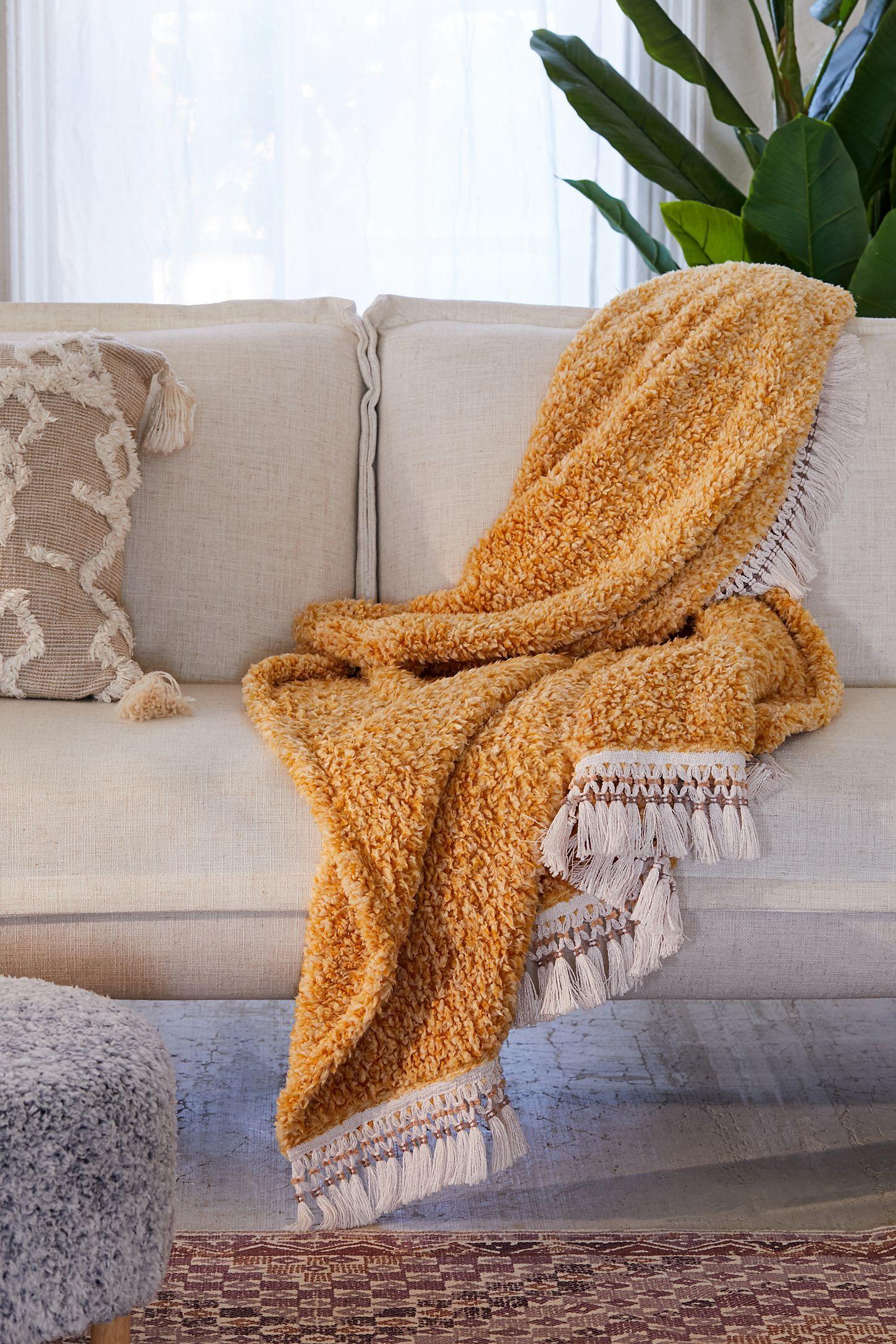 Amped Fleece Fringe Trim Throw Blanket Duvet Covers Urban Outfitters Throw Blanket Boho Throw Blanket