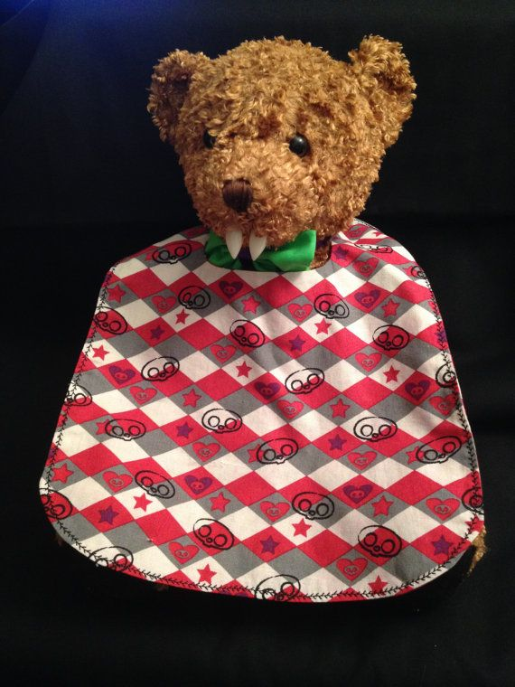 Hearts Stars and Heads Baby Bib by babybatboutique on Etsy, $7.00
