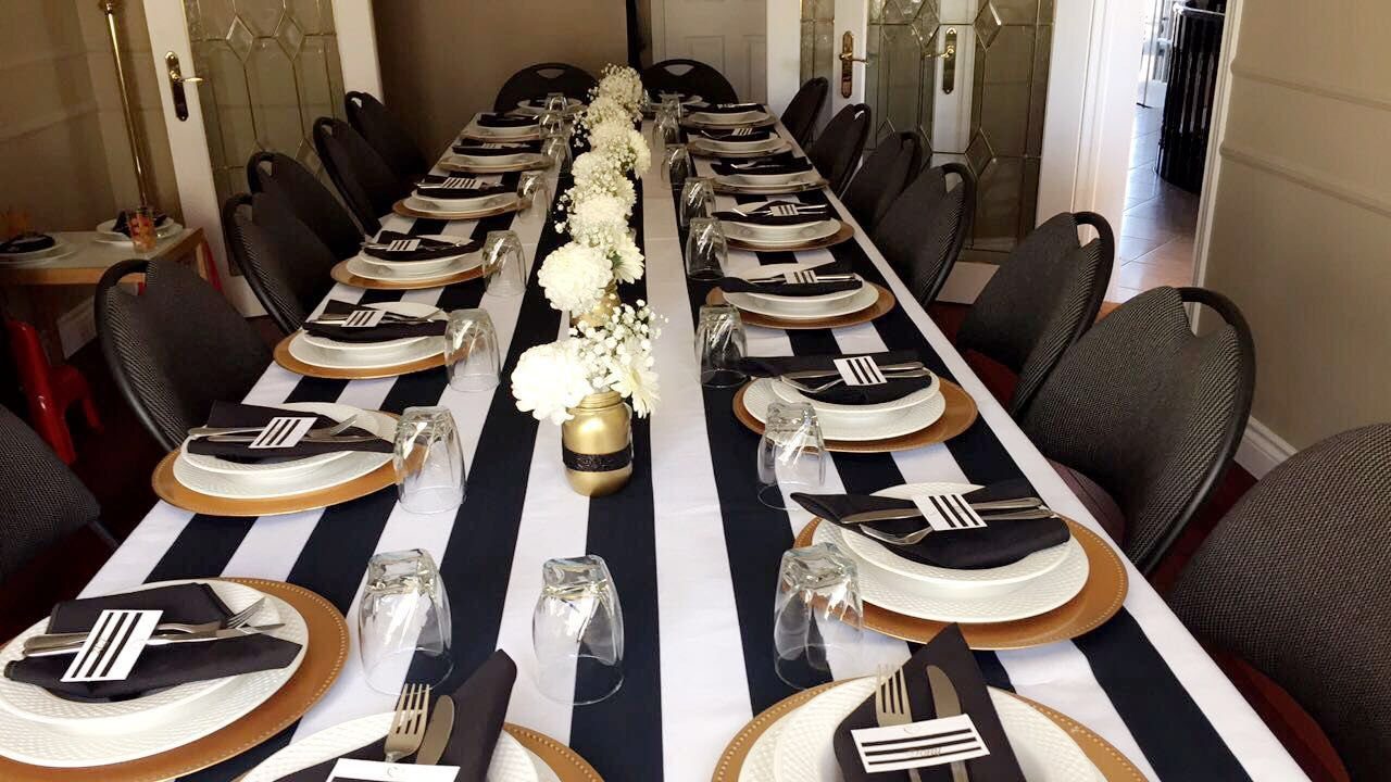 Black & White with Gold Accent Themed Engagement Party Set up